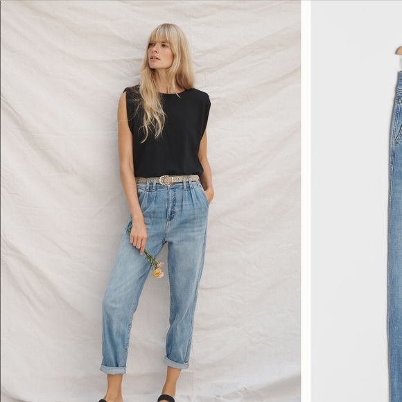 Pilcro ultra high rise pleated trouser jean NWT